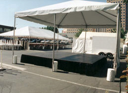 Pacific Party Canopies rents staging, skirting, stairs and railing