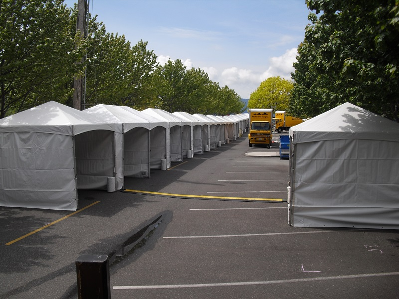 A line of small frame tents for vendors at Ski to Sea & Frame Tent Rental for Burlington Bellingham Seattle Everett ...