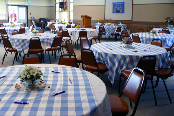 Charmant Blue And White Check Tablecloth