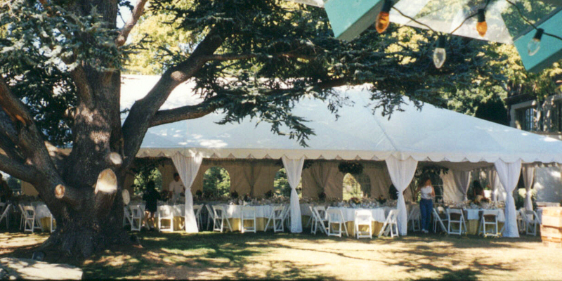 40 x 80 frame tent dressed in leg drapes liner and sidewall for